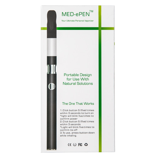 Slim Black Pen w/ USB Charger in Med-ePen Retail Box   Kush